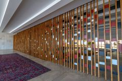 Fördragrum - Sala DOS Tratados - på den Itamaraty slottinre - Brasilia, federala Distrito, Brasilien arkivbild