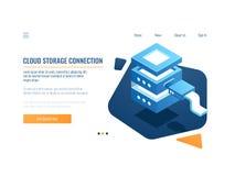 Fördunkla den tjänste- symbolen, lagring för avlägsna data för baner och det reserv- systemet, serverrum, datacenter och den isom royaltyfri illustrationer