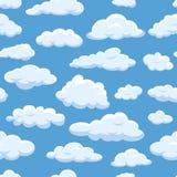 Fördunklar den sömlösa modellen på cloudscape för vektor för bakgrund för blå himmel molnig ljus Fluffigt vitt moln för naturluft stock illustrationer