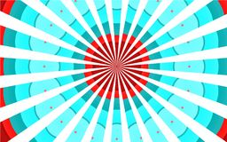 Fördunklar gamla härliga härliga brokiga brokiga blåa röda vita strålar för mångfärgad färgrik retro tappning, cirkulär bakgrund vektor illustrationer