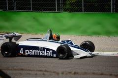 Före detta 1981 för Brabham BT49C formel 1 Nelson Piquet Royaltyfria Foton