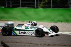 Före detta 1981 för Williams FW07-C formel 1 Alan Jones Royaltyfri Fotografi