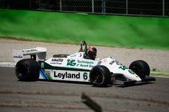Före detta 1981 för Williams FW07-C formel 1 Carlos Reutemann Arkivbild