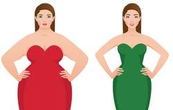 Före och efter fett för viktförlust och slank kvinna på en vit backg Royaltyfria Foton