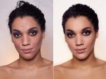Före och efter kosmetisk operation nätt kvinnabarn för utomhus- stående royaltyfri bild