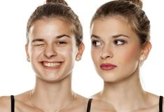 Före och efter smink fotografering för bildbyråer