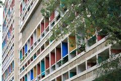 Förenad'Habitationen Corbusier i den franska staden Marseille Fotografering för Bildbyråer
