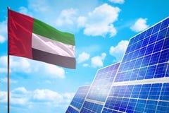 Förenade Arabemiraten alternativ energi, begrepp för sol- energi med den industriella illustrationen för flagga - symbol av kampe arkivbilder