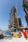 Förenade Arabemiraten Dubai, 05/21/2015, Damac står högt Dubai vid Paramount, konstruktion och byggnad Royaltyfri Bild