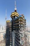 Förenade Arabemiraten Dubai, 05/21/2015, Damac står högt Dubai vid Paramount, konstruktion och byggnad Royaltyfri Foto