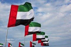 Förenade Arabemiraten flaggor royaltyfria foton