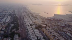 Förenade Arabemiraten flyg- sikt Dubai område, flyg- sikt för huvudväg Royaltyfri Fotografi
