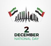 Förenade Arabemiraten nationell dag december 2nd Vektorillustration av UAE-händelsen Text, flaggor och horisont stock illustrationer