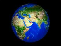 Förenade Arabemiraten på jord från utrymme vektor illustrationer