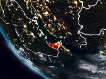 Förenade Arabemiraten på natten från utrymme Royaltyfri Illustrationer