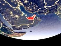 Förenade Arabemiraten på natten från utrymme fotografering för bildbyråer