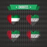 förenade arabiska emirates Samling av fyra vektorhjärtor med flaggan Hjärtakontur vektor illustrationer