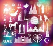 förenade arabiska emirates Uppsättning av symboler på den färgrika bakgrunden med defocused ljus stock illustrationer