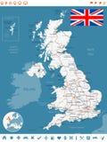 Förenade kungariket översikt, flagga, navigeringetiketter, vägar - illustration Stålblått Royaltyfria Bilder