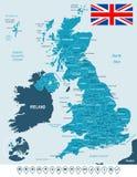 Förenade kungariket översikt, flagga och navigeringetiketter - illustration royaltyfri illustrationer