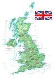 Förenade kungariket - detaljerad topographic översikt - illustration Royaltyfria Bilder