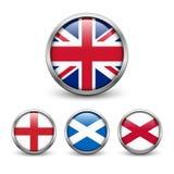 Förenade kungariket flagga - England, Skottland, Irland Facklig stålar Arkivfoton