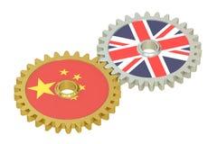 Förenade kungariket och Kina förbindelsebegrepp, flaggor på kugghjul 3d stock illustrationer