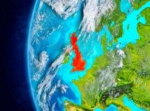Förenade kungariket på jord från utrymme Arkivfoto