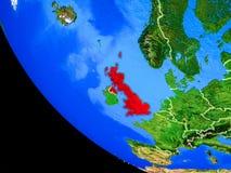 Förenade kungariket på jord från utrymme royaltyfri illustrationer