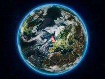 Förenade kungariket på jord på natten Royaltyfri Illustrationer