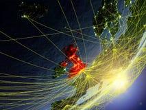 Förenade kungariket på modell av planetjord med nätverket under soluppgång Begrepp av ny teknik, kommunikationen och loppet 3d vektor illustrationer