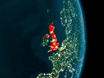 Förenade kungariket på natten Fotografering för Bildbyråer