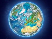 Förenade kungariket på planetjord i utrymme Royaltyfria Bilder
