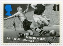 FÖRENADE KUNGARIKET - 1996: shower William Ambrose Billy Wright 1924-1994, seriefotbolllegender Royaltyfri Fotografi