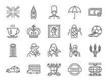 Förenade kungariket symbolsuppsättning Inklusive symbolerna som tetid, brittiskt pund, den London taxien, drottning, flagga, buss stock illustrationer