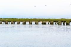Föreningspunkt av floden Blyth och den Dunwich floden i Southwold, Suffolk arkivfoton