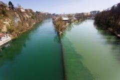 Föreningspunkt för två floder Arkivfoto