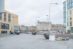 Föreningspunkt för väg för Dundee stad upptagen på Whitehall Cres och unionSt inom den Dundee stadsmitten Skottland royaltyfria foton