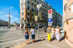 Föreningspunkt mellan den trädgårds- cirkel- och Prechistenaskaya gatan av Royaltyfria Bilder