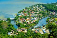 Föreningspunkt sjö och flod Royaltyfria Bilder