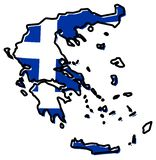Förenklad översikt av den Grekland översikten, med den litet vridna flaggan under royaltyfri illustrationer