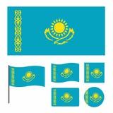 Förenklad flagga av Kasakhstan för ett litet format, olika proportioner och former uppsättning som isoleras på vit bakgrund stock illustrationer