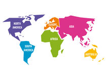Förenklad världskarta som delas till sex kontinenter i olika färger Enkel plan vektorillustration vektor illustrationer