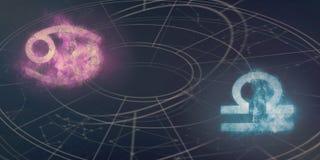 Förenlighet för cancer- och Våghoroskoptecken Natthimmel Abstra royaltyfri illustrationer