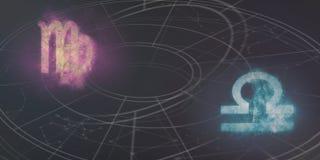 Förenlighet för Jungfru- och Våghoroskoptecken Natthimmel Abstrac Arkivfoto