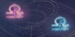 Förenlighet för Våg- och Våghoroskoptecken Natthimmel Abstrac Arkivfoto