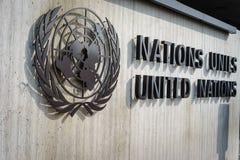 Förenta Nationernaemblem i Genève Arkivbilder