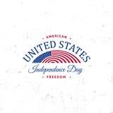 Förenta staterna av Nordamerika vektorLogo Vintage enkel stil Symbol för nationell ferie för självständighetsdagen blå red royaltyfri illustrationer