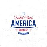 Förenta staterna av Nordamerika vektorLogo Vintage enkel stil Symbol för nationell ferie för självständighetsdagen blå red stock illustrationer