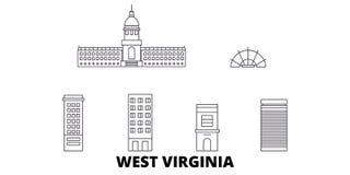 Förenta staterna Charleston West Virginia linje lopphorisontuppsättning Förenta staterna Charleston West Virginia översiktsstad vektor illustrationer